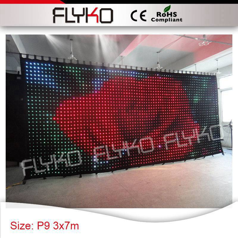 Sexy video display P9 3*7m foldable led video curtain video stage backdrop