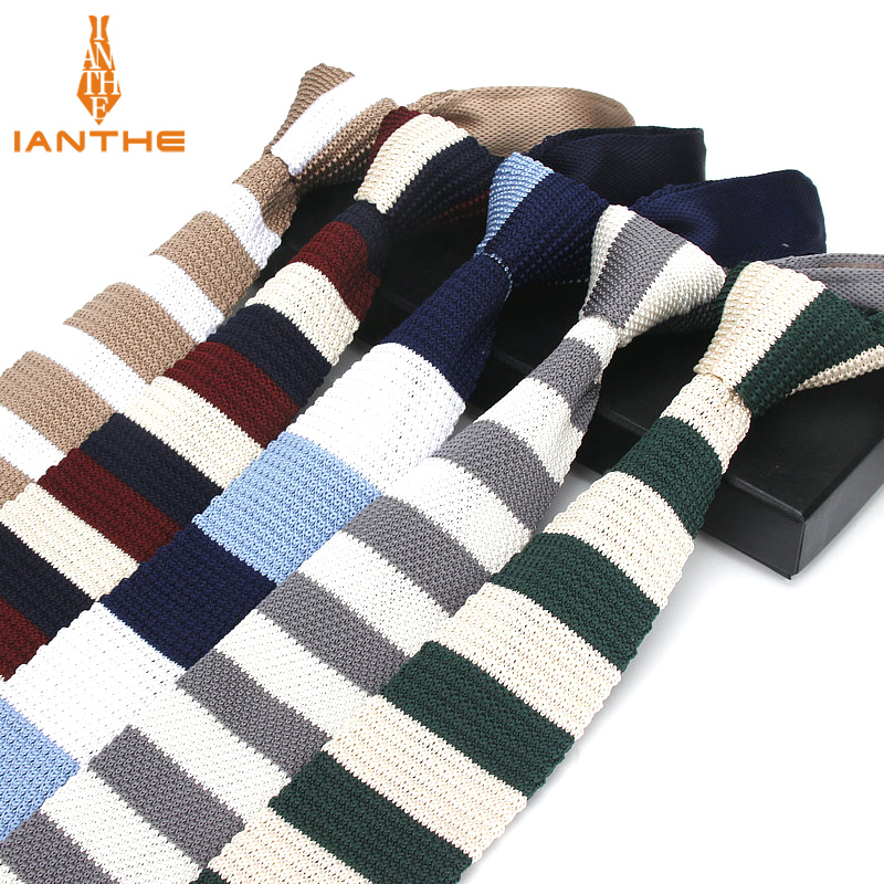 Brand New Fashion Vintage Striped Neck Tie Wedding Knitted Ties For Men Skinny Tie Man Gravata Polyester Narrow Knitted Neckties