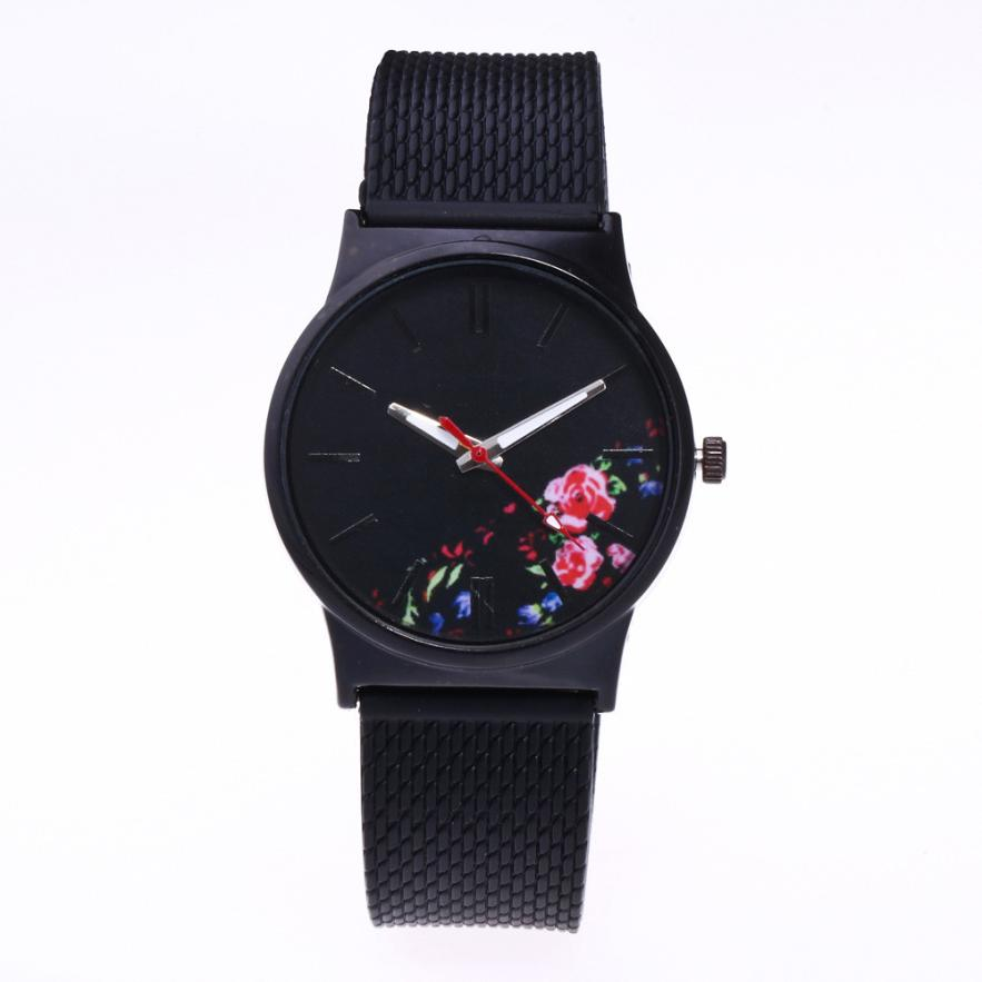 Colorful Flowers Pattern Clock Fashion Women Watches Black Silicone Band Stainless Steel Dial Quartz Wrist Watch Creative July13 fashion colorful flowers and riding girl pattern removeable wall stickers
