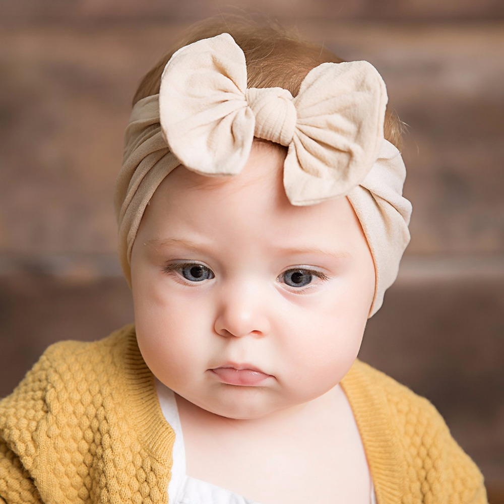 Baby Girls Wide Nylon Bow Headband Knot Head Wraps One Size Fits Most 18 Colors For 0 Months - 7 Years Old Baby
