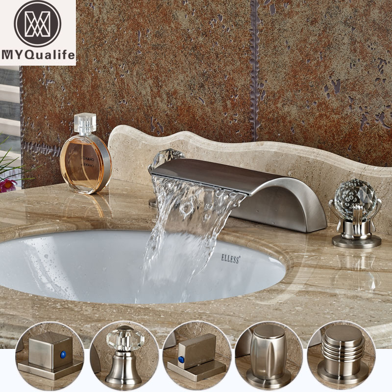 Luxury Brushed Nickel Basin Faucet Waterfall Deck Mounted Mixer Taps Dual Handle 3 Holes Lavatory Sink Mixer Taps brushed nickel deck mount waterfall basin mixer dual handle 3 holes bathroom faucet