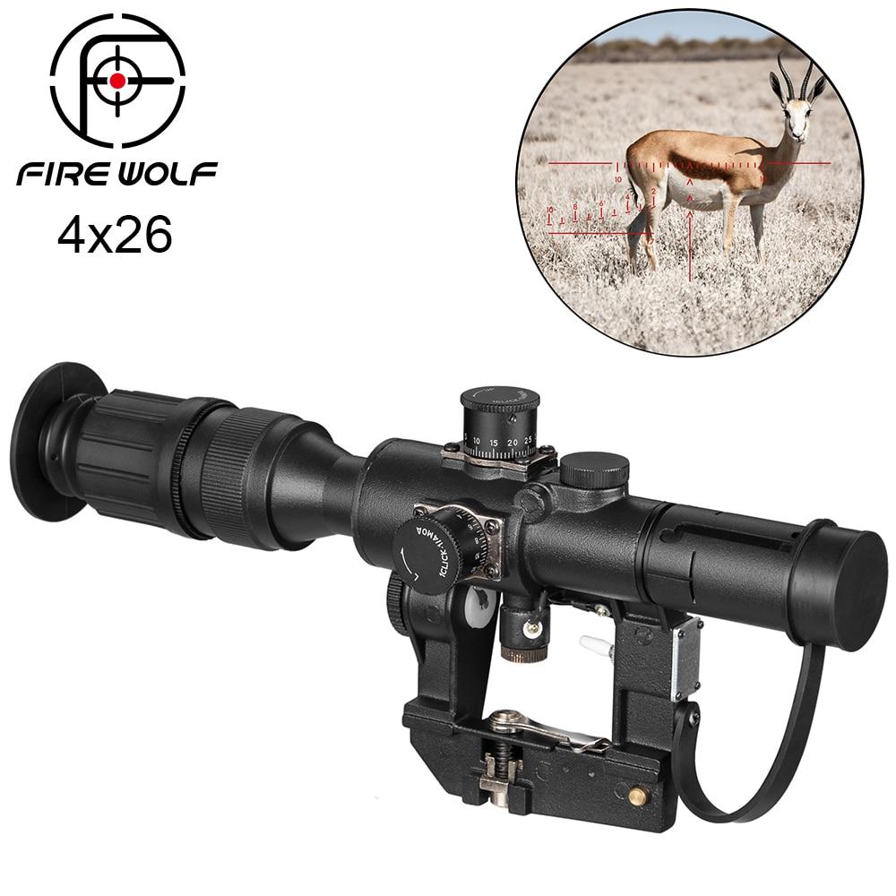 Feu loup Dragunov Svd 4x26 AK Scopes rouge illuminé portée pour chasse fusil portée tir point rouge chasse optique Laser