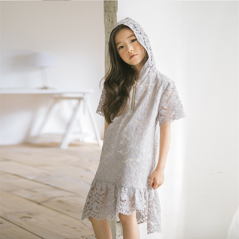 Girls Hooded Dress Summer Spring 2018 Lace Dress For Beach Kids Child Clothes Fashion Princess Outfits For 6 7 8 12 14 Years Old summer cartoon castle sleeveless girls print dress knee length princess a line dress clothes for kids 6 to 12 years old kids