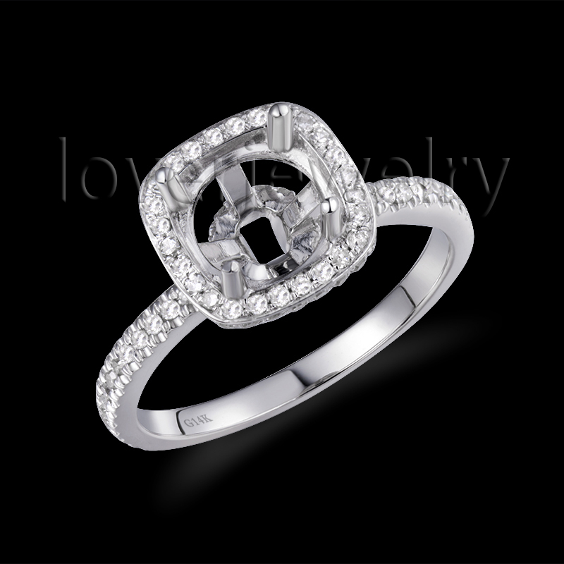 585 White Gold Diamond Semi Mount Settings Ring 7mm Round Cut For Wedding Party SR00154