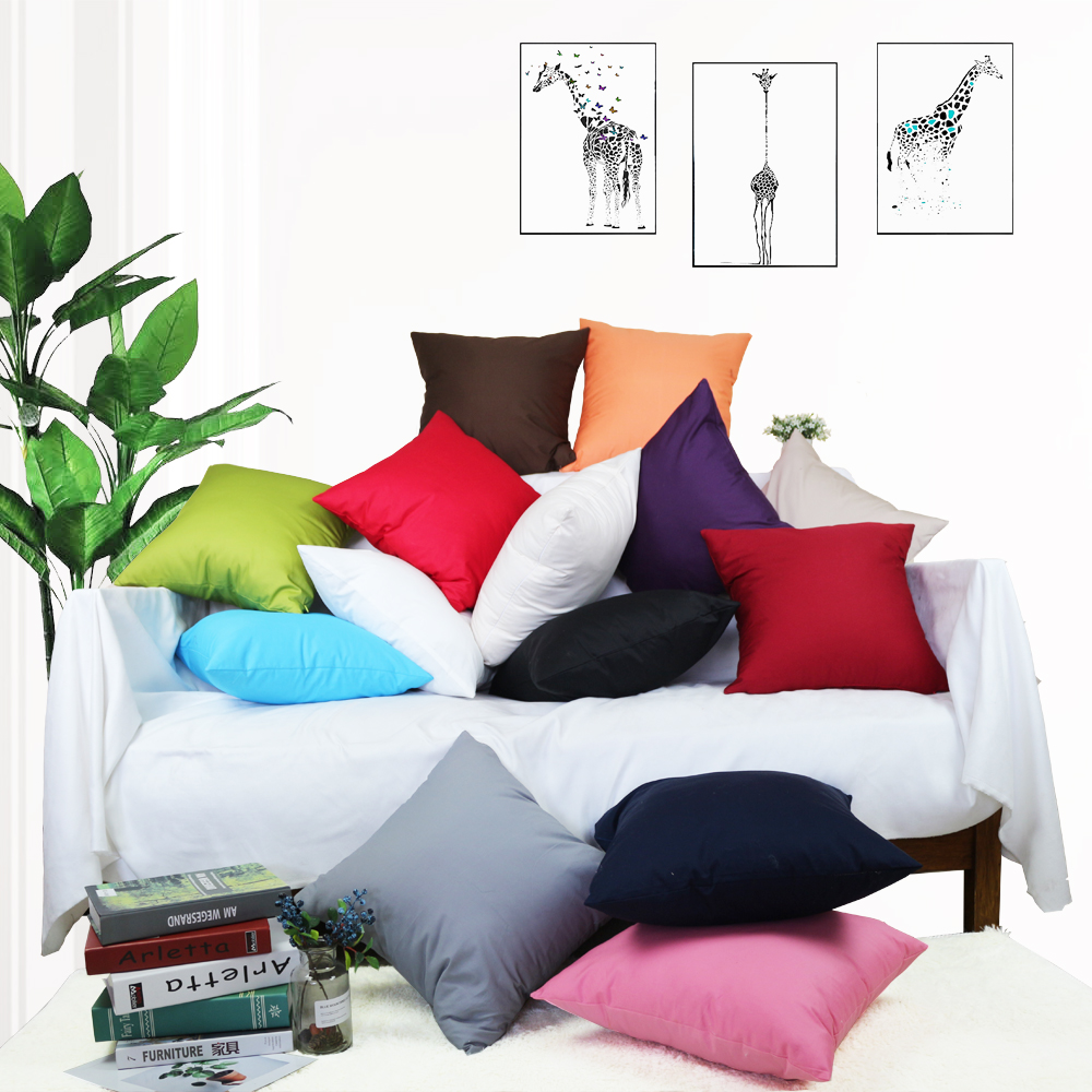 Solid Colorful 100% Cotton Thin Twill Khaki Throw Pillow Case Hotel Chair <font><b>Cushion</b></font> <font><b>Cover</b></font> For Sofa Home Decor <font><b>30</b></font> 35 45x45 40x40 <font><b>50</b></font> image