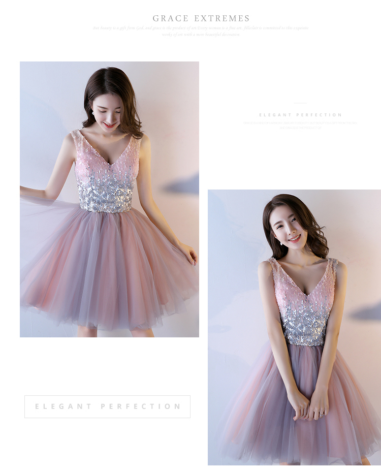 Pink A-Line Sequined Knee-Length Princess Bridesmaid Dress 1