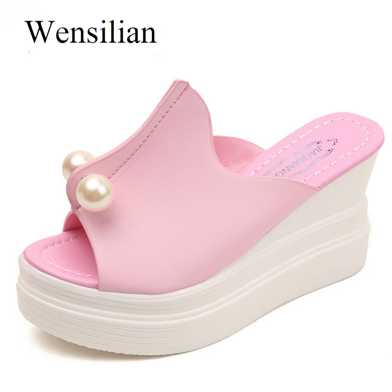 Summer Slippers Sandals Bathroom Flip Flops Women Bead Slides Ladies Wedges Platform Shoes Thick Heel Beach Shoes Zapatos Mujer summer women platform sandals wedges slippers rainbow thick heel sandals ladies shoes women summer shoes beach