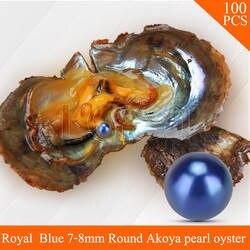 Lgsy бисера Королевский синий 7-8 мм Круглый Akoya жемчуг в устрицах с вакуумной посылка для женщин ювелирные изделия решений 100 шт