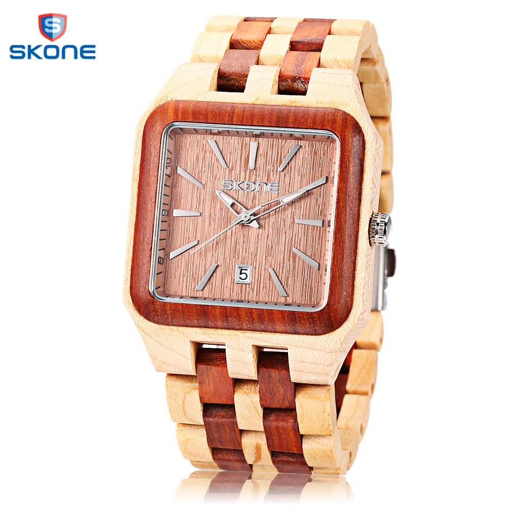 SKONE 2017 Men Wood Quartz Watch Fashion Date Luminous Display Square Dial All-wooden Wristwatch skone 5051 luminous pointers quartz watch men rotatable bezel wristwatch