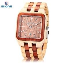 SKONE de 2017 de Los Hombres de Madera de Moda Reloj de Cuarzo Fecha Display Luminoso Del Dial Del Cuadrado Del Todo-Reloj de pulsera de madera