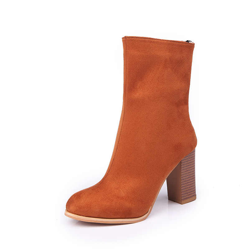 2019 Kadın Botları Garip Tarzı Kalın Yüksek Topuklu Sonbahar Kış Kadın Kısa Moda Streç Likra Çorap Ayakkabı Kadın Fermuar