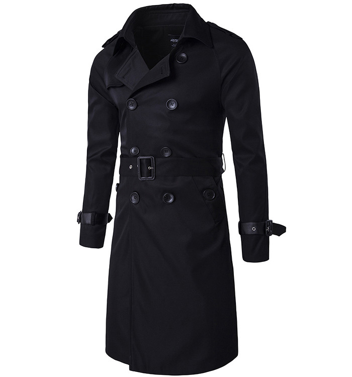 Men Trenchcoat British Style Classic Trench Coat Jacket Double Breasted Long Slim Outwear Adjustable Belt Leather Sleeve Belt