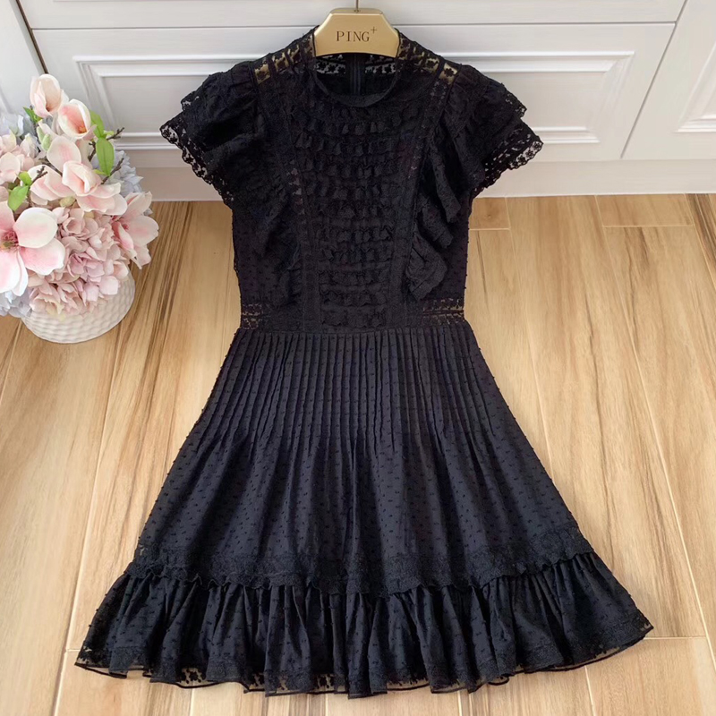 Red RoosaRosee Summer Runway Stand Collar Cascading Ruffles Black Pleated Mini Dress Women's Vacation Party Vestidos Robe Femme