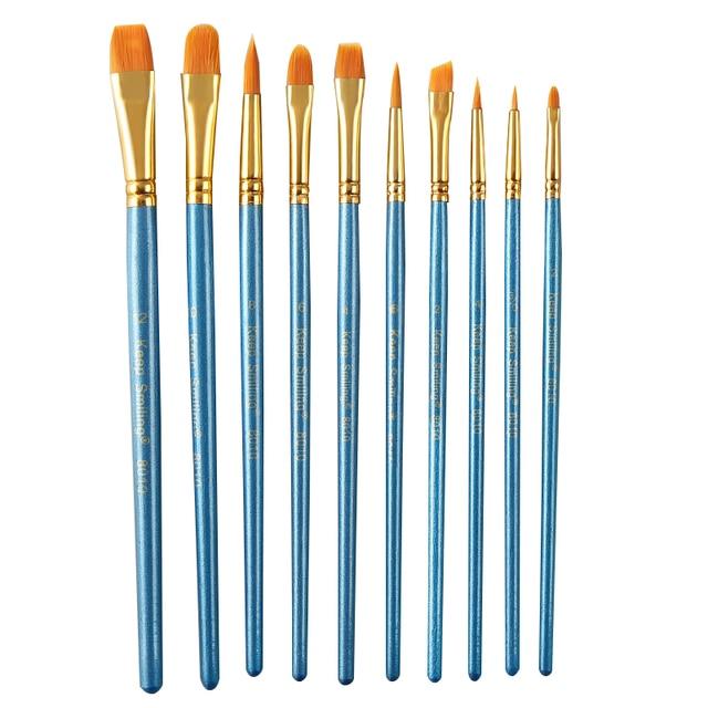 BGLN 10 unids/set pelo de nailon acuarela pinceles de pintura de goucache de diferentes formas punta redonda pincel de pintura conjunto de suministros de arte