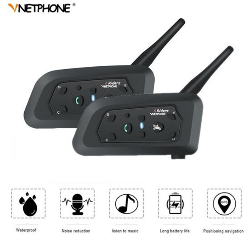 VNETPHONE casque casque Bluetooth Interphone pour moto sans fil Bluetooth Interphone BT Interphone casque 1200 M 2 ensemble