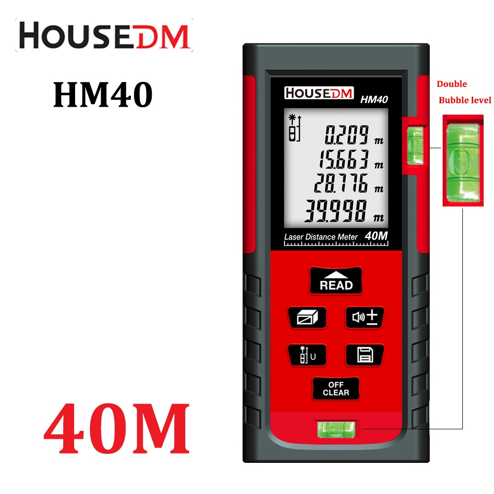 HOUSEDM Digital laser Distance Meter 40M Bubble Level