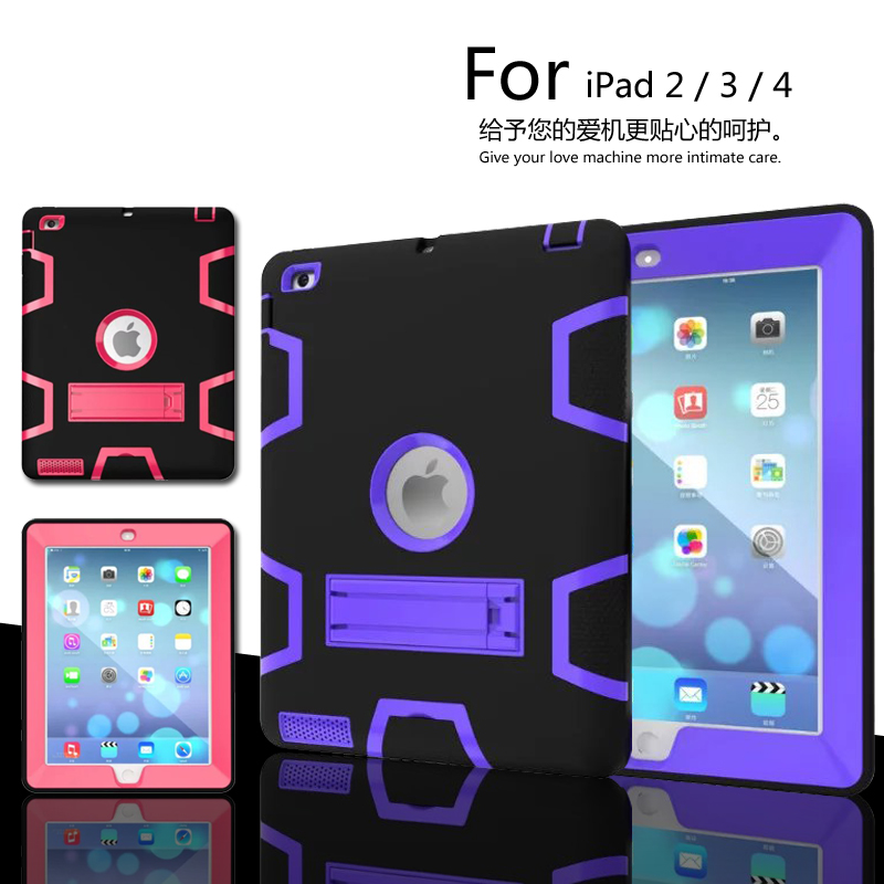 For iPad 2 / 3 / 4 luxury Heavy Duty Shockproof Hybrid Rubber Rugged Hard Impact Protective Skin Shell Case For iPad2/3/4 case for ipad pro 12 9 case tablet cover shockproof heavy duty protect skin rubber hybrid cover for ipad pro 12 9 durable 2 in 1
