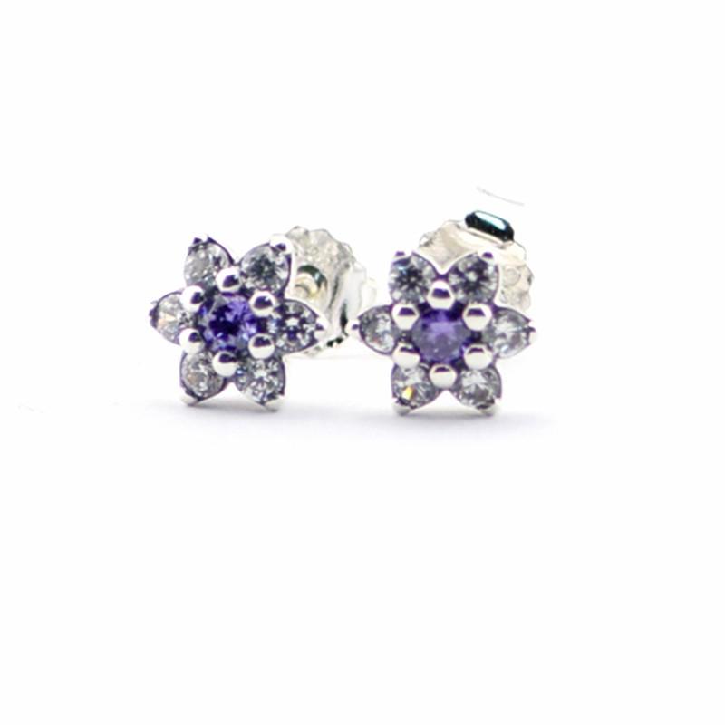 2016 Spring Jewelry Forget Me Not Earrings For Women Jewelry 925-Sterling-Silver Purple&Clear CZ Earring Women Fine Jewelry  (1)