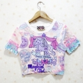 New 2016 T-shirt Women Unicorn Crop Top Harajuku Summer Cropped Tops Tee Cartoon Horse Short-sleeve T-shirts camisetas mujer