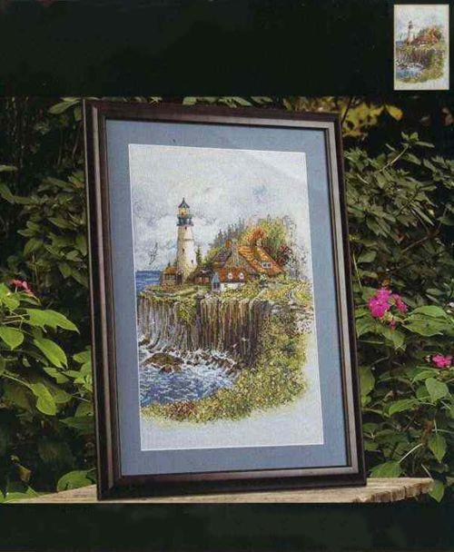 Gold Collection Beautiful Lovely Counted Cross Stitch Kit Cliffside Lighthouse Cliff Light House Harbour Haven Bucilla