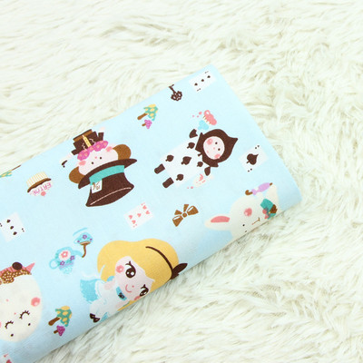 half yard thin cotton fabric cartoon cute girl print handmade DIY garment dress children cloth B132 in Fabric from Home Garden