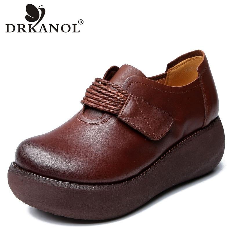 DRKANOL Spring Women Shoes Handmade Genuine Leather Women Flat Platform Shoes Thick Bottom Platform Heel Female Casual Shoes
