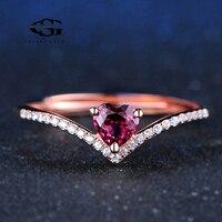 GS 925 Sterling Silver Ring 4mm 0.3ct 100% Cuore Naturale Cut Rosso Granato Anelli Per Le Donne Gioielli Romantico Wedding Band Y4