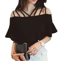 2017 Summer Short Flare Sleeve Blouses Blusas Chiffon Blouse Womens Slash Neck Woman Clothes Solid Vintage