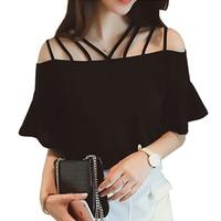2017 Summer Short Flare Sleeve Blouses blusas Cotton Blouse Womens Slash Neck Woman Clothes Solid vintage Shirt Camisas Tops