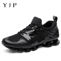 YJP Breathable Sneakers Men Shoes Casual Shock Absorbing Sports Mens Shoes PU Leather Mesh Patchwork Footwear Tenis Masculino