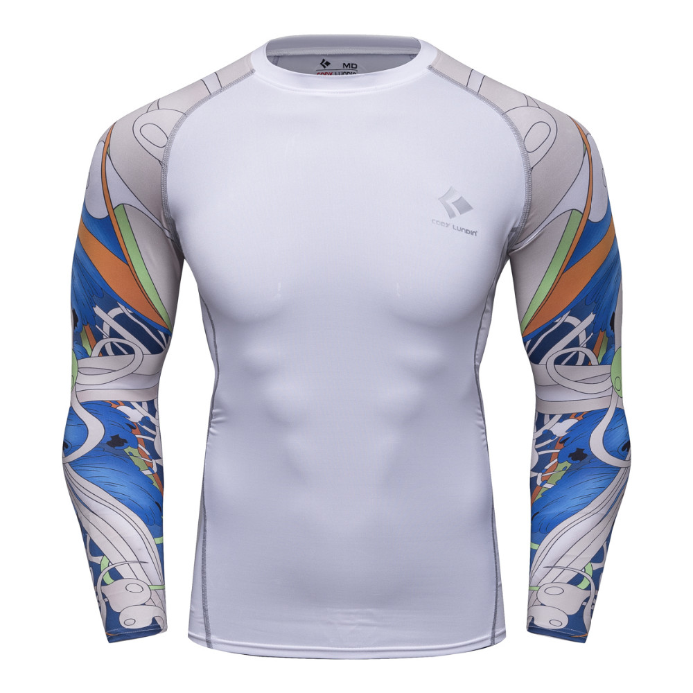 Digital Printing Men Long Sleeve Compression Thermal T Shirt Skin Tights Base Layer Male Quick Dry Tops Tees