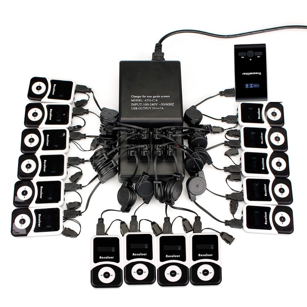 Wireless Tour Guide System 16 Port Charger Base+Transmitter+15 Receiver for Tour Guiding Simultaneous Translation Meeting Church