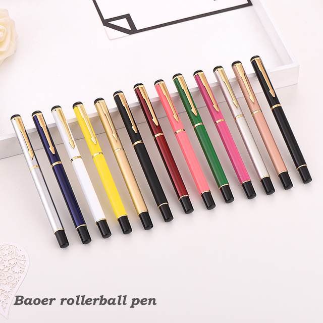 Luxury Rollerball Pen Baoer Gel Pen Metal Ball Ballpoint Pen  Papelar Boligrafo Stationery Material Escolar Volume boligrafos 3