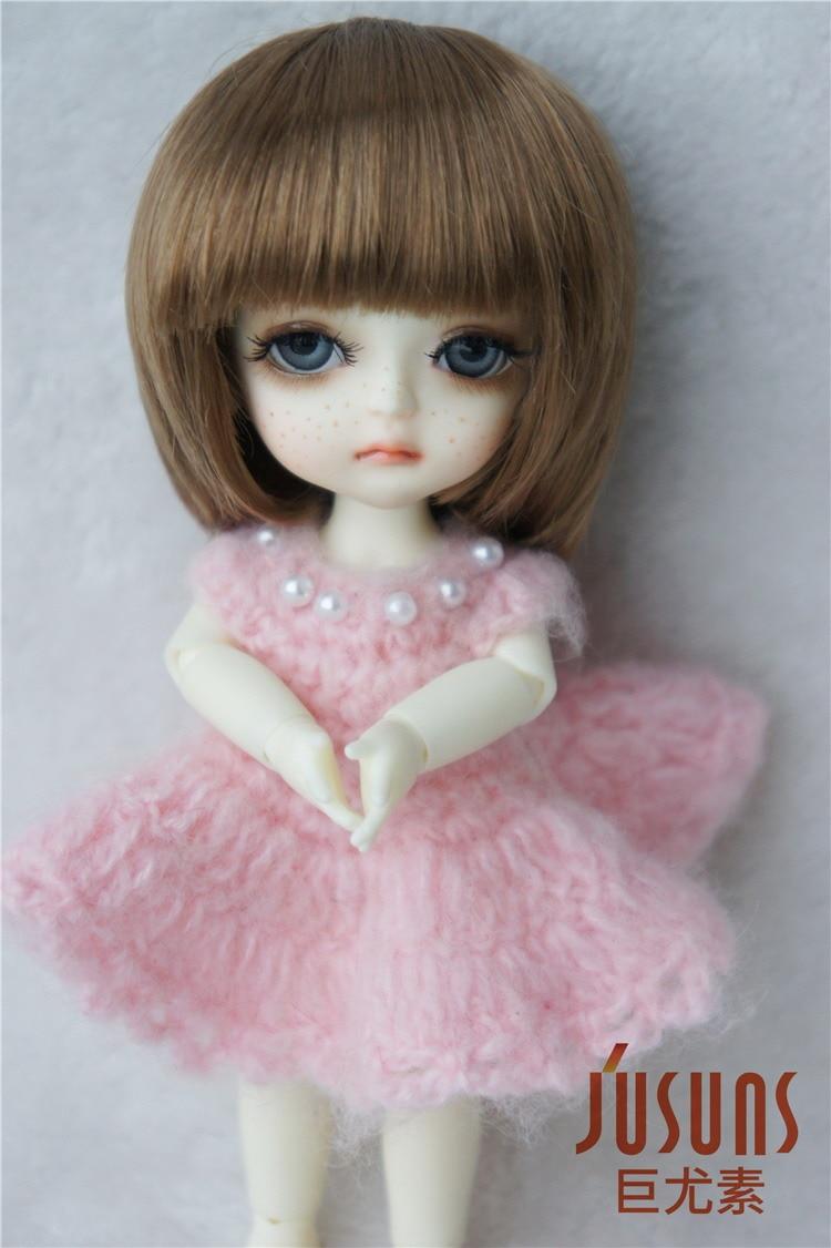 JD025 1/8 1/6 модный короткий парик BJD с челкой для размера 5-6 дюймов 6-7 дюймов кукла мягкий синтетический мохер кукла аксессуары - Цвет: 5-6inch Brown SM916