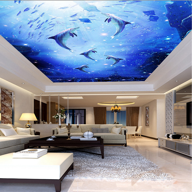 Custom 3D Photo Mural Watercolor Style Blue Sea Underwater World Dolphin Ceiling Roof Mural 3d Mural Wallpaper Ceiling Decor custom 3d ceiling photo wave dolphin 3d ceiling murals wallpaper home decor wallpaper on the ceiling papel de parede