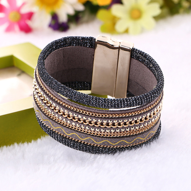 Fashion Bohemia Handmade Chain Wide Magnetic Leather Bracelets Bangles For Women Stretch Cloth Multilayer