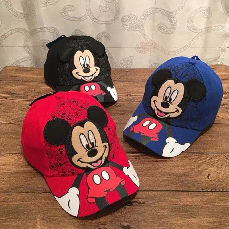 Children Baseball cap Mickey Mouse Cartoon Kids fitted Hat Boy Girl Black White hip hop caps Baseball Cap Outdoor Sunscreen hats(China)