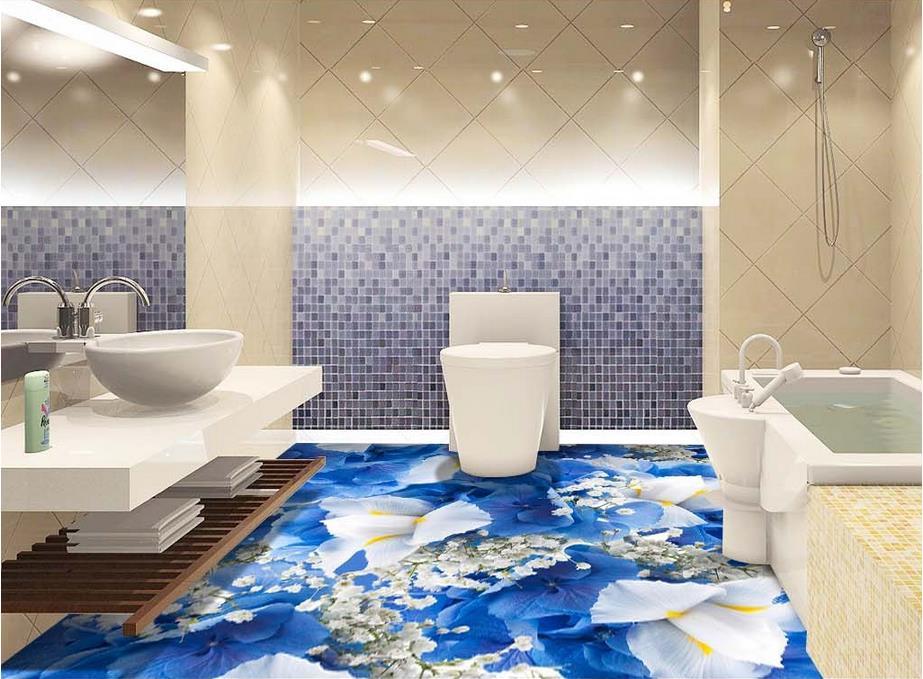 Custom Vinyl Flooring Waterproof Blue Flowers Wall Mural