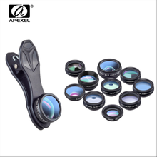 цена на Apexel 10 in 1 Cell Phone Camera Lens Kit Wide Angle Macro Fisheye Telephoto Lens for iPhone XS MAX XR X and other Android Phone