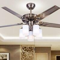 European style retro iron leaf fan ceiling lamp dining room living room bedroom fan pendant lamp fan lamp household FS12