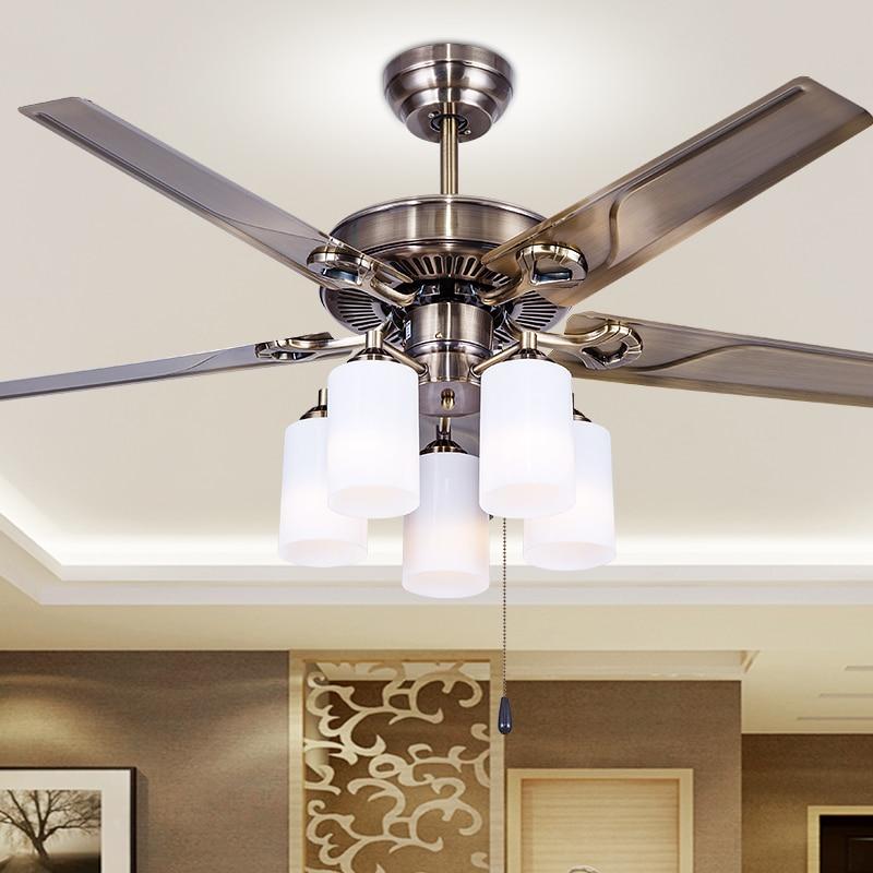 Style européen rétro fer feuille ventilateur plafonnier salle à manger salon chambre ventilateur pendentif lampe ventilateur lampe ménage FS12