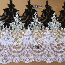 Black/White European Embroidery Wedding Veil Lace Trim Handmade DIY Materials Lace Fabric Decor Accessories Width 24cm 3Yds/lot