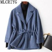 MLCRIYG 2019 весеннее повседневное шерстяное пальто женское короткое кашемировое пальто и куртки на шнурке осеннее зимнее пальто YQ278
