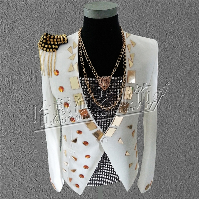 S-5XL!!!  2018  Fashion male Nightclub singer costumes White mirror stage costumes