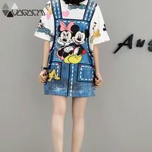 2019 Summer Mickey Mouse Cartoon Dress Fashion Loose Vestidos Cute False Two Pieces Female Dresses New Plus Size M-5XL