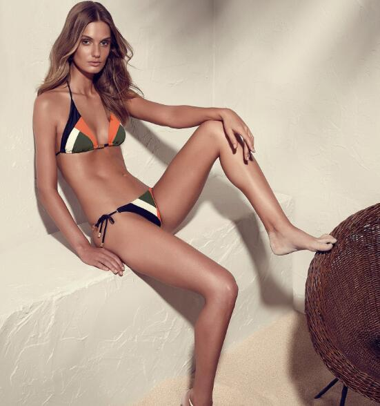 Geometric Pattern Triangle Style Bikini with Tie Side Bottoms