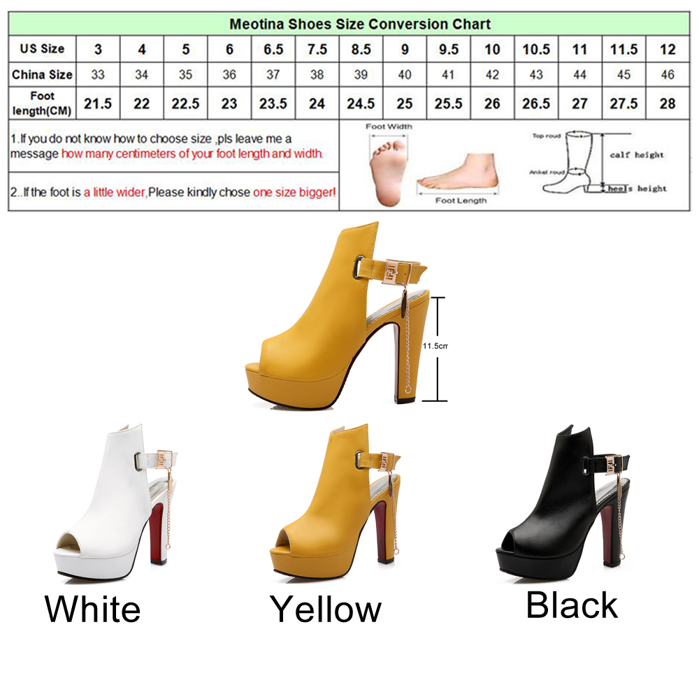 Meotina Shoes Women High Heels Pumps Spring Peep Toe Gladiator Shoes Female Chains Sequined High Heels Platform Shoes Yellow 43