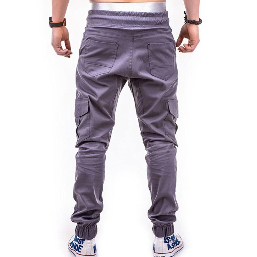 HTB1k3JOCXmWBuNjSspdq6zugXXa5 Men's Pants 2018 Fashion Men's Pure Color Bandage Casual Loose Sweatpants Drawstring Pant       july22