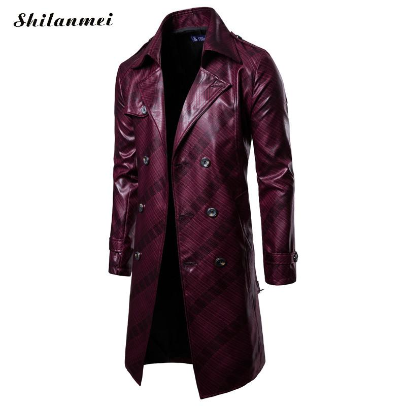 Men Long Trench Coat 2018 New Fashion PU Leather Long Overcoat Autumn Winter British Double Breasted Slim Fit Male Coat Trench