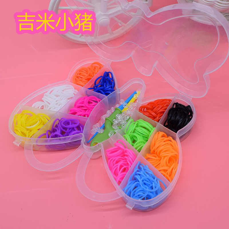 600pcs DIY Rubber Bands Loom Bracelet Toys For Children Girl Hair Band Butterfly Kids Kits Craft Toy Hook Loom Bracelets Gifts